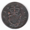 Very Fine 1766 Halfpenny with Spaced II  I