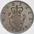 Near Gem Proof 1774 Irish Halfpenny