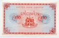 Ulster Bank 100 Pound Specimen 1 Mar 1977