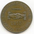 Birmingham & Risca Copper Company 1811 Clasped Hands Copper Penny Token